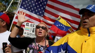 Opositores venezolanos protestan en Nueva York por la presencia de Nicolás Maduro en la Asamblea de la ONU