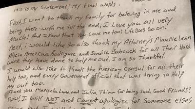 """Esta es la carta que dejó el mexicano ejecutado en Texas: """"Volveré por Justicia"""""""