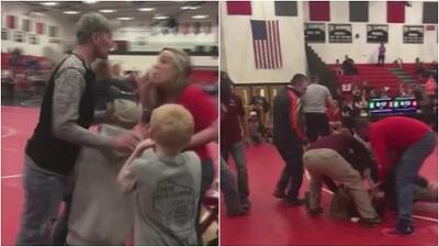 En video: Padres terminan a golpes y patadas en un torneo de lucha escolar en Wisconsin
