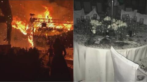 En video: El romántico baile de bodas que terminó con un gran incendio