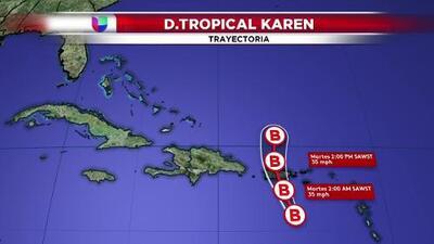 Esta es la trayectoria de la depresión tropical Karen
