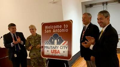"San Antonio shows off new ""Military City USA"" signs"