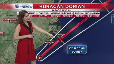 Se espera que Dorian podría tocar tierra con categoría 1 la mañana de este viernes