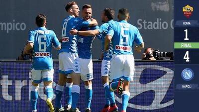 Napoli arrolla a la Roma y aleja la calificación a Champions de la Loba