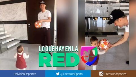 ¡Tierno momento! CR7 juega con su hija con el balón del hat-trick en Champions