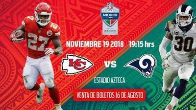 NFL anuncia fecha y costo de boletos para el Chiefs vs. Rams en México