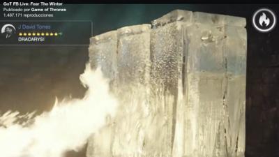 Los fans de Game of Thrones revelaron la fecha de estreno de la temporada 7 quemando un cubo de hielo por Facebook Live