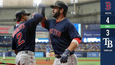 Boston vence a Tampa Bay en extra innings y barre una serie por primera vez en 2019