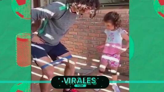 Matías Britos utiliza a su hija para entrenar en casa