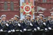 Russian servicemen march during the Victory Day parade, which marks the anniversary of the victory over Nazi Germany in World War Two, in Red Square in central Moscow, Russia May 9, 2019. REUTERS/Maxim Shemetov