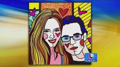 La pareja del momento Marc y Shannon en una pintura de Britto