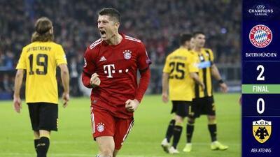 Bayern vence al AEK Atenas con doblete de Lewandowski y recupera el liderato del Grupo E