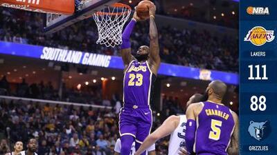 Lakers aplastan a Grizzlies con un LeBron discreto