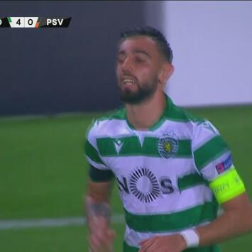 Magnífica definición desde el manchón penal y Bruno Fernandes firma el 4-0