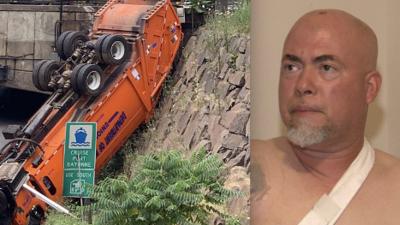 """""""Los frenos fallaron"""": habla el conductor del camión que cayó al vacío en Union City"""