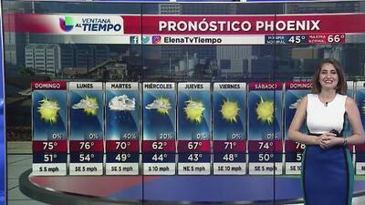 Nublados parciales y temperaturas agradables en Phoenix