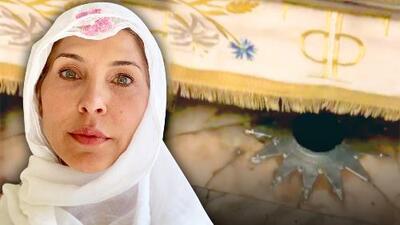Con las emociones a flor de piel, Lorena Meritano besa la piedra donde nació Jesús y hace un especial ruego