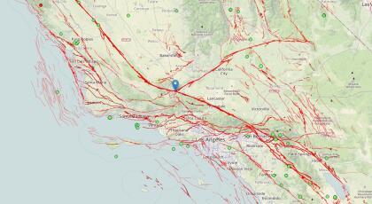 Franja de la falla de San Andrés a la altura de Gorman donde se calcula que se pueda producir un nuevo sismo de gran magnitud en las próximas décadas.