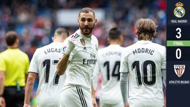 ¡Señor Karim! 'Hat-trick' de Benzema afianza al Real Madrid en el tercer lugar de La Liga