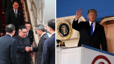 Kim Jong Un y Donald Trump llegaron a Singapur para su accidentada cumbre