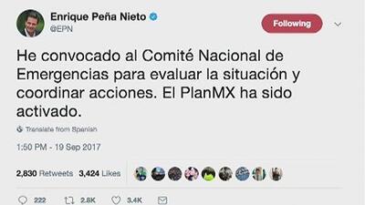 Peña Nieto convoca al comité Nacional de Emergencias por sismo de 7.1 en Ciudad de México