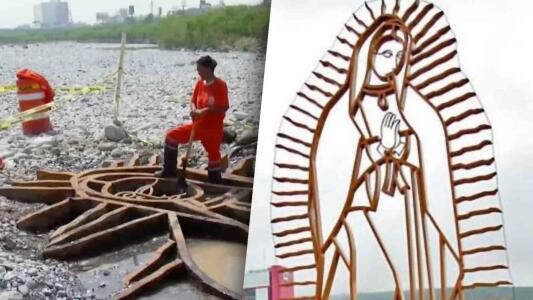 """""""Un huracán la entierra y el otro la desentierra"""": reaparece intacta escultura de la Virgen de Guadalupe en Monterrey"""