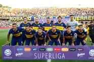 ROSARIO, ARGENTINA - DECEMBER 08: Players of Boca Juniors pose for a team photo before a match between Rosario Central and Boca Juniors as part of Superliga 2019/20 at Gigante de Arroyito on December 8, 2019 in Rosario, Argentina. (Photo by Marcos Brindicci/Getty Images)