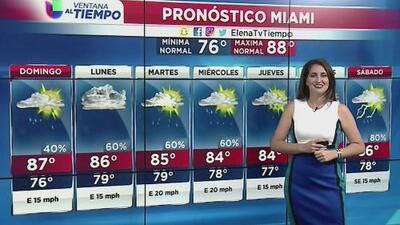 Se esperan cielos nublados y temperaturas máximas de 87 grados en Miami para este domingo