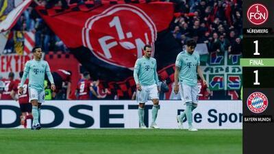 Bayern Munich tropezó en Nurémberg y la Bundesliga es drama puro