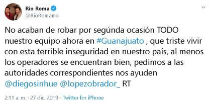 """""""Nos acaban de  <b>robar por segunda ocasión</b> todo nuestro equipo, ahora en Guanajuato. Qué triste vivir con esta terrible inseguridad en nuestro país"""".  <br>"""