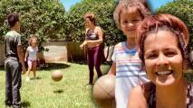 El divertido juego de pelota con el que Adriana Monsalve y sus hijos pasan momentos de mucha diversión