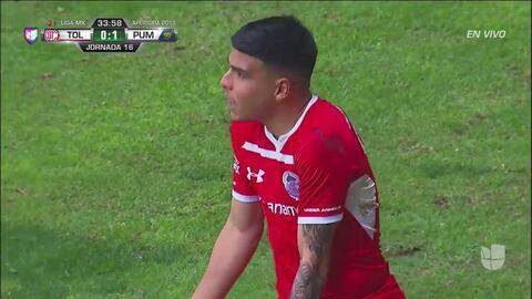 Tarjeta amarilla. El árbitro amonesta a Luis Mendoza de Toluca