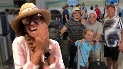 Con mucho ritmo: El Gordo y La Flaca arman tremenda fiesta en el aeropuerto de regreso a Miami