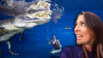 Las impresionantes fotos de la osadía de Maity Interiano: nadar con Casper, un cocodrilo de 10 pies y 250 libras