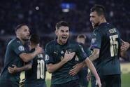 Italy's Jorginho celebrates after he scores the opening goal of the game from the penalty spot during the Euro 2020 group J qualifying soccer match between Italy and Greece in Rome, Italy, Saturday, Oct. 12, 2019. (AP Photo/Alessandra Tarantino)