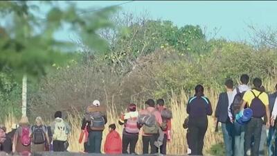 Cubanos se unen a nuevo grupo de migrantes que caminan por México rumbo a EEUU