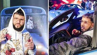 Farruko llegó en el 'bus de prisión' al escenario de Premios Juventud, Anuel AA en convertible
