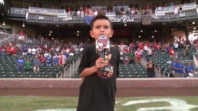 5-year-old sings National Anthem at baseball game