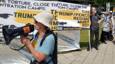 En fotos: protestan contra visita de Mike Pence a Atlanta