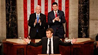 """La ovación del Congreso cuando Macron asegura que EEUU """"volverá al Acuerdo de París"""""""