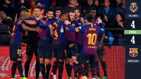 Electrizante remontada del Barcelona para salvar un punto en visita al Villarreal