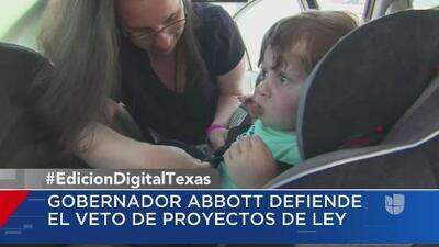 Gobernador Greg Abbott defiende veto de proyectos de ley