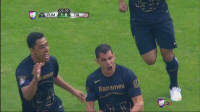 Pumas vs Toluca: Cabezazo de Gerardo Alcoba abre el marcador para Pumas