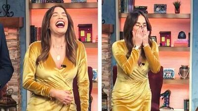 Llorando de la risa: Karla no podía hacer una grabación por el ataque que le dio