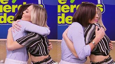 Conmovida, Frida Sofía recibe un tierno abrazo de Karla Martínez en espera de sentir pronto el de su madre