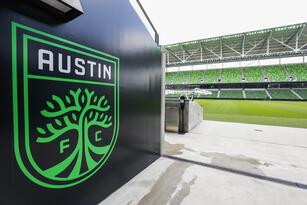 Jun 9, 2021; Austin, TX, United States; The Austin FC logo is painted on the wall at the exit of the players tunnel at Q2 Stadium, home of the new MLS team Austin FC. Mandatory Credit: Erich Schlegel-USA TODAY Sports