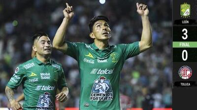 ¡El rey de la selva! León se come al Toluca con un 3-0 y doblete de Ángel Mena
