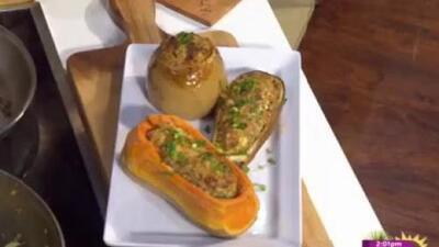 La receta: calabacin relleno de butifarra