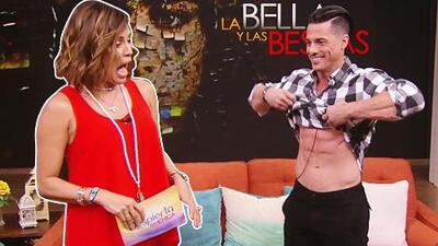 Quedó boquiabierta: Karla convenció a Jorge Alberti de mostrar los músculos que le dejó 'La bella y las bestias'