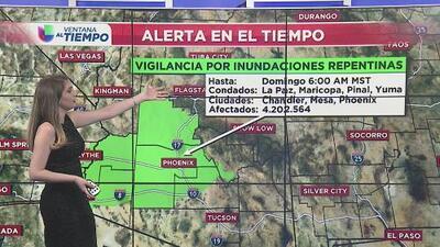 Alerta por inundaciones repentinas en Phoenix y otras zonas del estado
